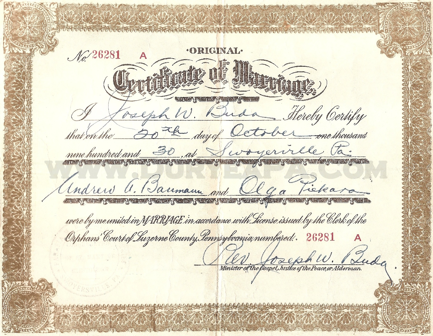 Index of 1930to1939 pa duryea 1930 bauman piekara church marriage certificateg aiddatafo Image collections